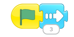 ScratchJrのブロック 緑の旗でスタート 右に動く(3歩動かす)