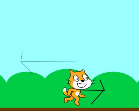 ネコが右に行くと、ネコは動かないで背景が動く