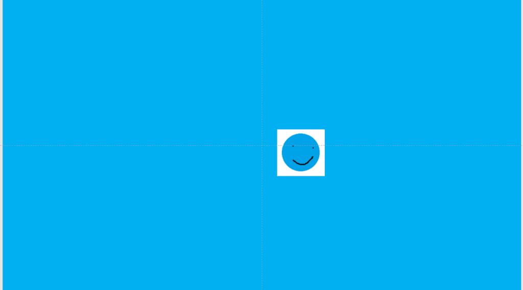 PowerPoint 周りの背景は、青で、 その中に青丸君がいる。 ただし、青丸君の周りに白いものがある。