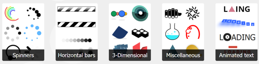 Spinners、Horizontal bars、3-Dimensional、Miscellaneous、Animated text